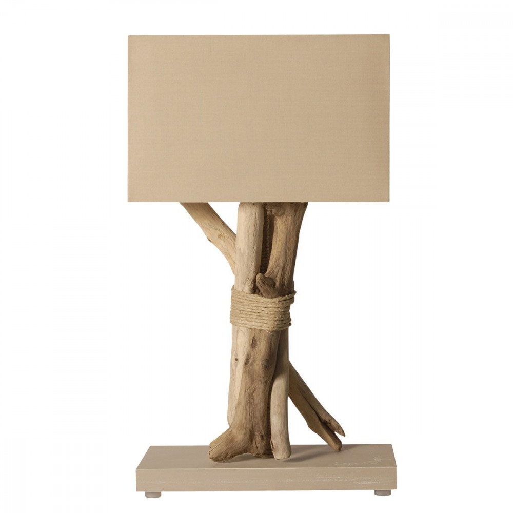 Lampe en bois flott beige for Lampe en bois flotte fabrication