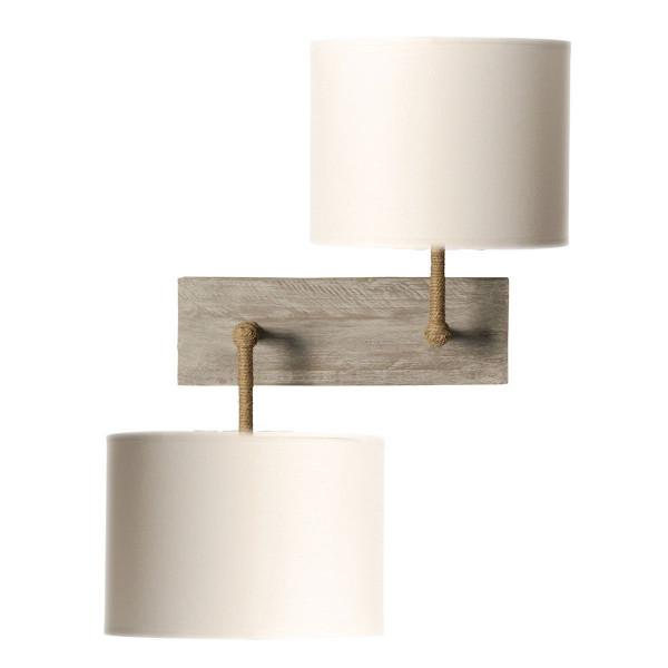 applique bois flott double abat jour blanc. Black Bedroom Furniture Sets. Home Design Ideas