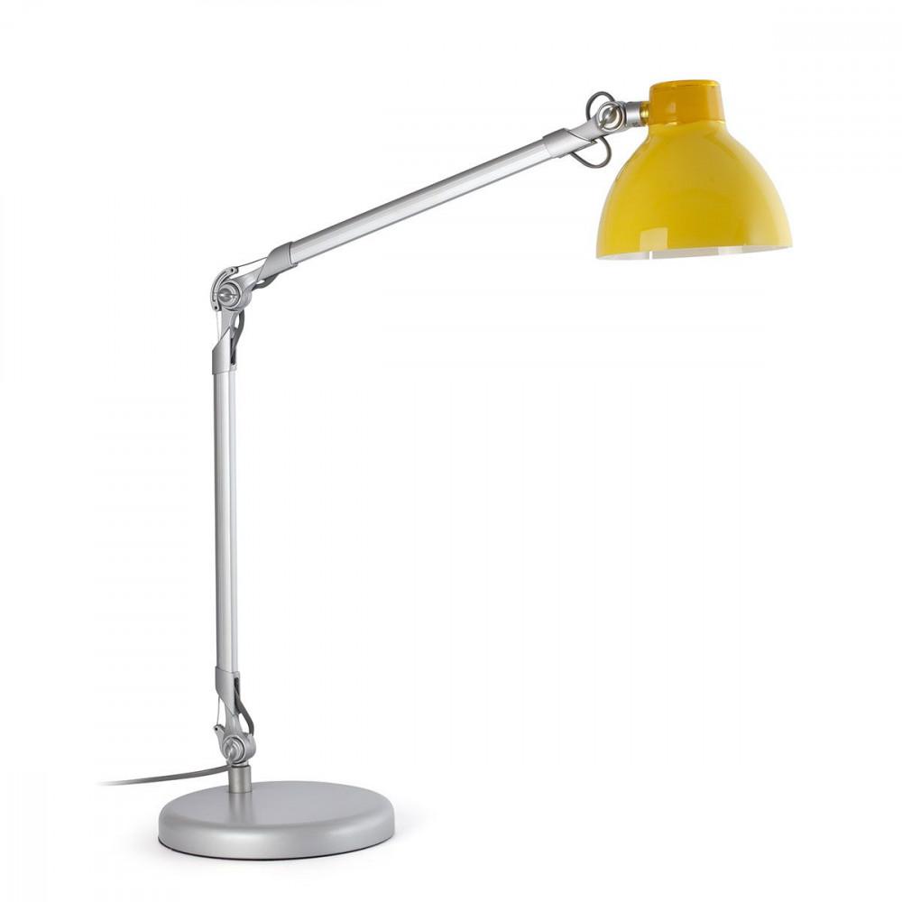 acheter lampe de bureau flexible en alu avec un abat jour jaune. Black Bedroom Furniture Sets. Home Design Ideas