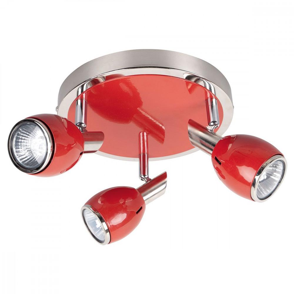 Spot vintage plafonnier rouge triple for Luminaire rouge