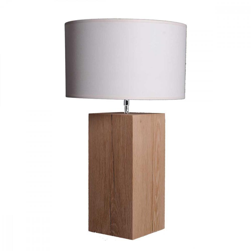 Lampe de salon en ch ne brut - Pied de lampe en bois brut a peindre ...
