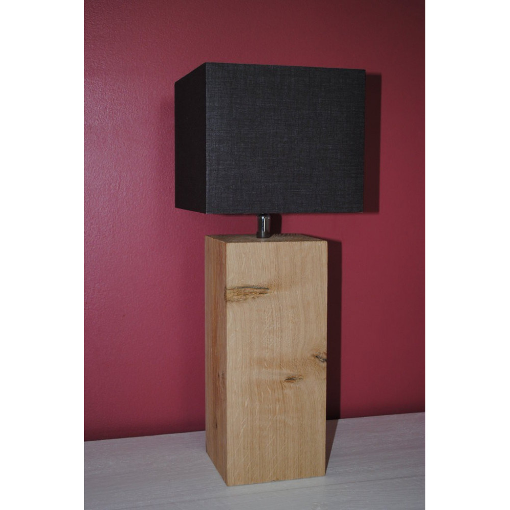 Petite lampe de chevet en bois abat jour chocolat for Petite lampe exterieur