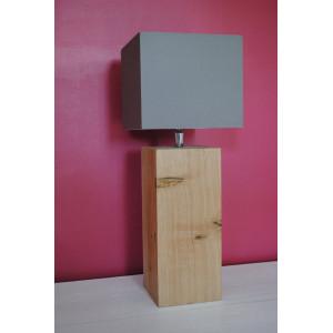 Petite lampe en bois, abat-jour taupe