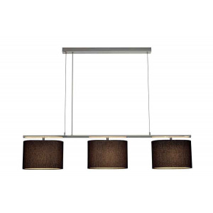 TRIADEM suspension chrome et noir 3 diffuseurs ovales E27 max 3x60W