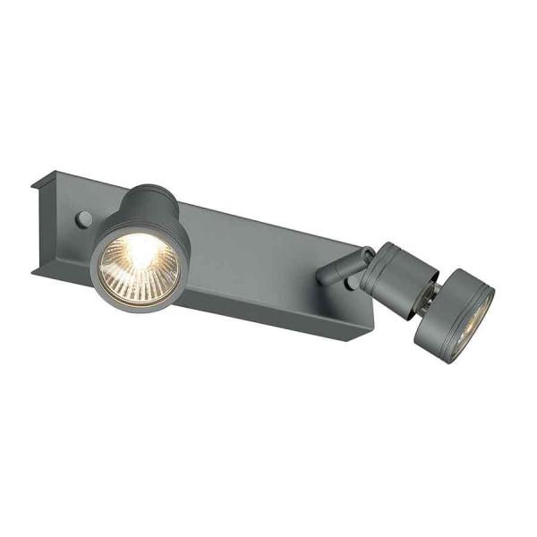 PURI 2 plafonnier gris argent GU10 max 2x50W anneau déco inclus
