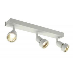 PURI 3 plafonnier blanc mat GU10 max 3x50W anneau déco inclus