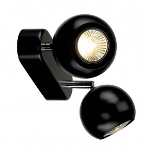 LIGHT EYE 2 GU10 applique et plafonnier noir et chrome 2x GU10 max 2x50W