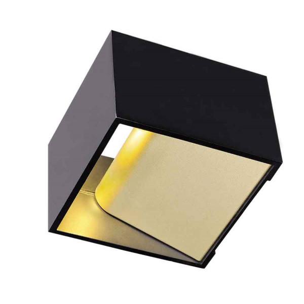 LOGS IN applique carrée noir et laiton 5W LED 3000K