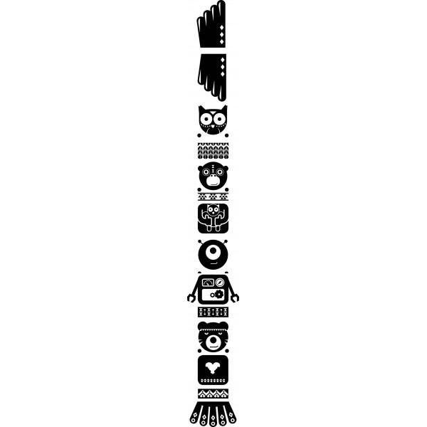 Sticker Totem Chouette noir