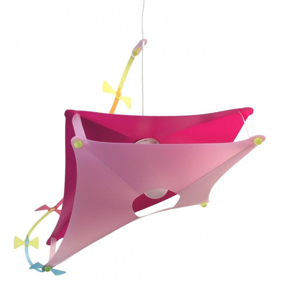 Suspension enfant cerf volant rose
