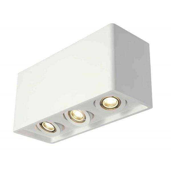PLASTRA BOX 3 plafonnier carré plâtre blanc 3x GU10 max 3x 35W