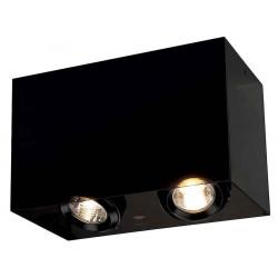 ACRYLIC BOX DOUBLE GU10 plafonnier rectangulaire noirettranslucide max 2x50W
