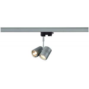 BIMA 2 spot gris argent 2x GU10 max 50W adaptateur 3 allumages inclus