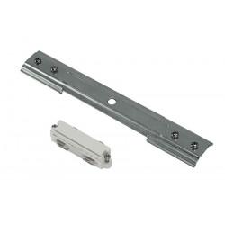 Connecteur et renfort mécanique droit pour rail 1 allumage 230V à encastrer blancetnickel mat