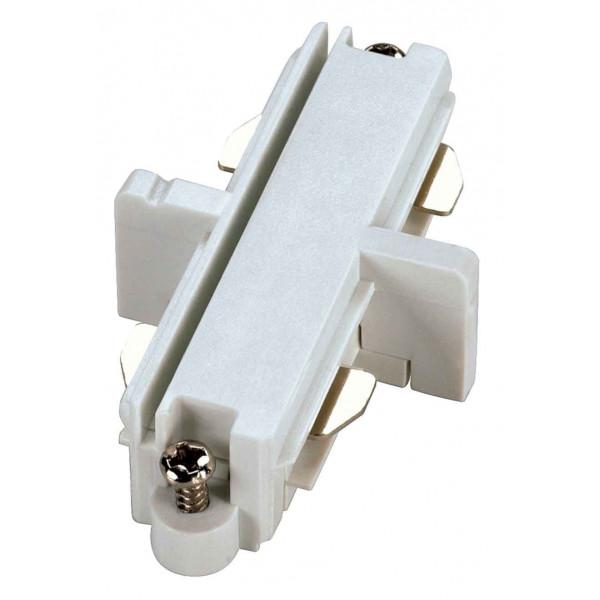 Connecteur droit pour rail 1 allumage 230V blanc électrique