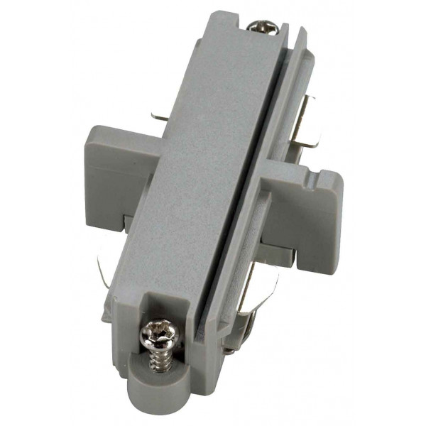 Connecteur droit pour rail 1 allumage 230V gris argent électrique