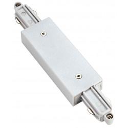 Connecteur droit pour rail 1 allumage 230V blanc avec alimentation centrale