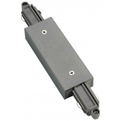 Connecteur droit pour rail 1 allumage 230V gris argent avec alimentation centrale