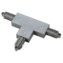 Connecteur en T pour rail 1 allumage 230V gris argent terre gauche