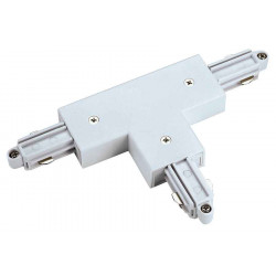 Connecteur en T pour rail 1 allumage 230V blanc terre droite