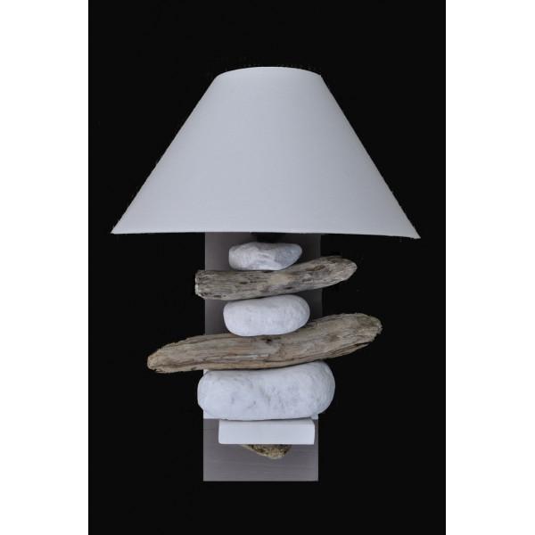 applique bois flott taupe abat jour blanc ou taupe. Black Bedroom Furniture Sets. Home Design Ideas