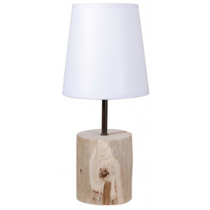 Lampe de chevet en bois abat-jour blanc