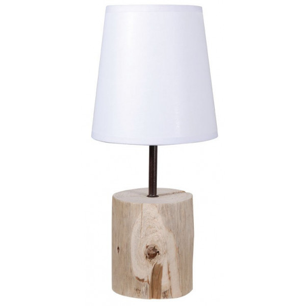 lampe de chevet en bois abat jour blanc luminaire d co nature. Black Bedroom Furniture Sets. Home Design Ideas