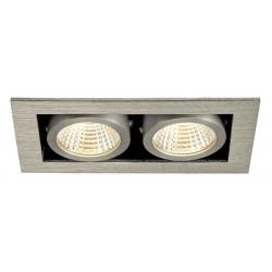 KIT KADUX 2 LED encastré carré alu brossé 15W 3000K 38° alim incluse