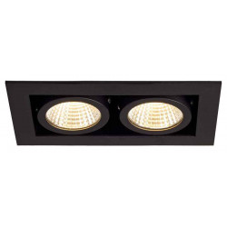 KIT KADUX 2 LED encastré carré noir 15W 3000K 38° alim incluse