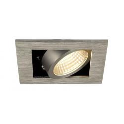 KIT KADUX 1 LED encastré carré alu brossé 9W 3000K 38° alim incluse