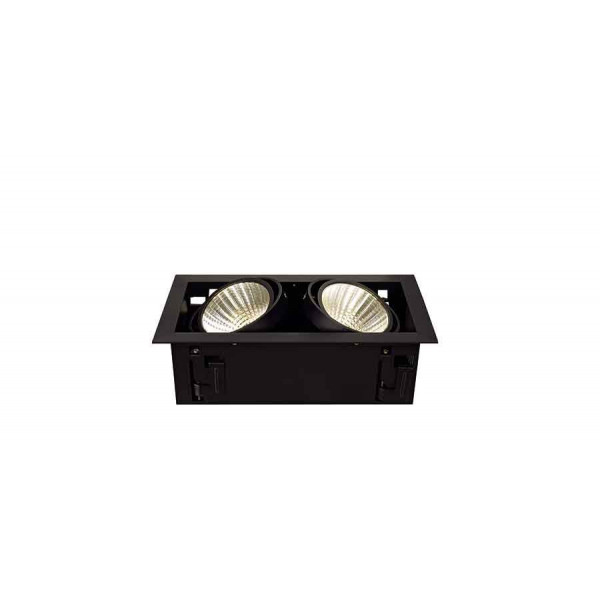 KIT KADUX 2 LED XL encastré carré noir 2x24W 3000K 30° alim incluse