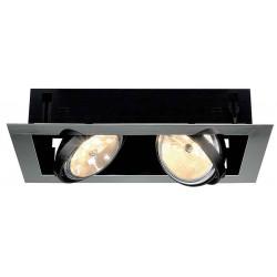 AIXLIGHT FLAT DOUBLE QRB111 encastré chrome et noir mat max 50W