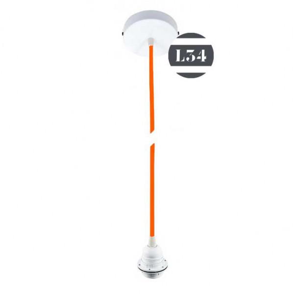 Kit suspension fil lectrique orange pour abat jour for Suspension electrique
